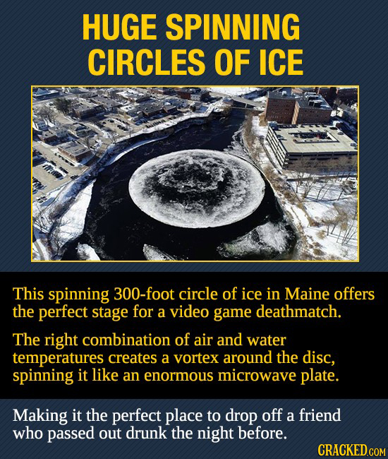 HUGE SPINNING CIRCLES OF ICE This spinning 300-foot circle of ice in Maine offers the perfect stage for a video game deathmatch. The right combination