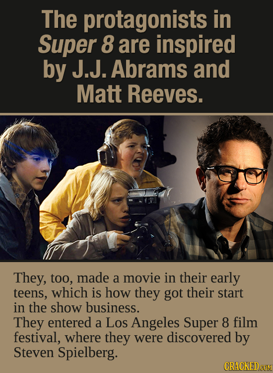 The protagonists in Super 8 are inspired by J.J. Abrams and Matt Reeves. They, too, made a movie in their early teens, which is how they got their sta