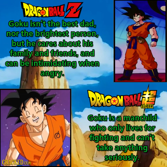 DRACONBALL Goku isn't the best dad, nor the brightest persong but he cares about his family and friends, and can be intimidating when angry. DRACONBAL