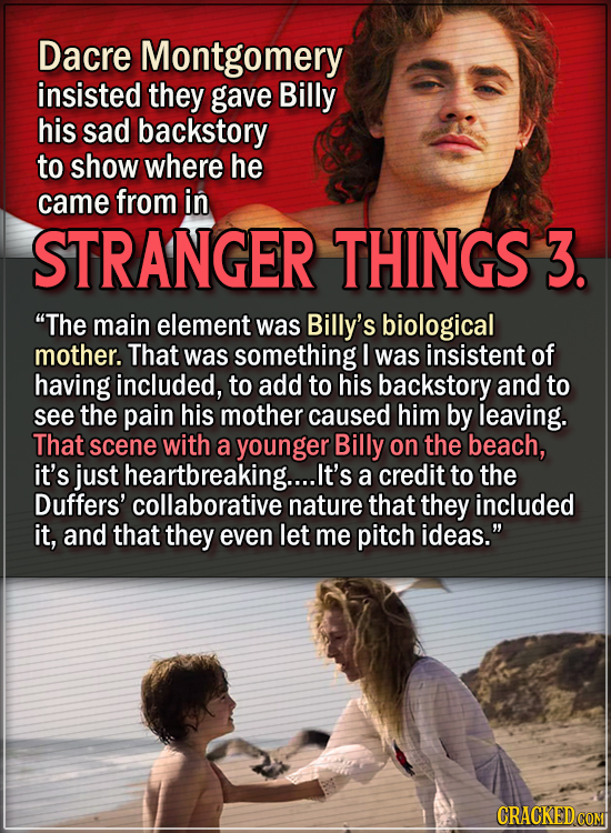 15 Actors Behind Important Details In Movies And Shows - Dacre Montgomery insisted they gave Billy his sad backstory to show where he came from in Str