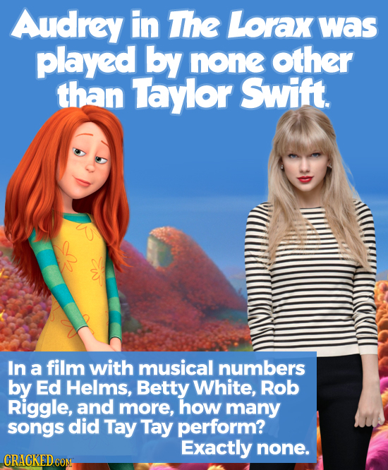Audrey in The Lorax was played by none other than Taylor Swift. In a film with musical numbers by Ed Helms, Betty White, Rob Riggle, and more, how man
