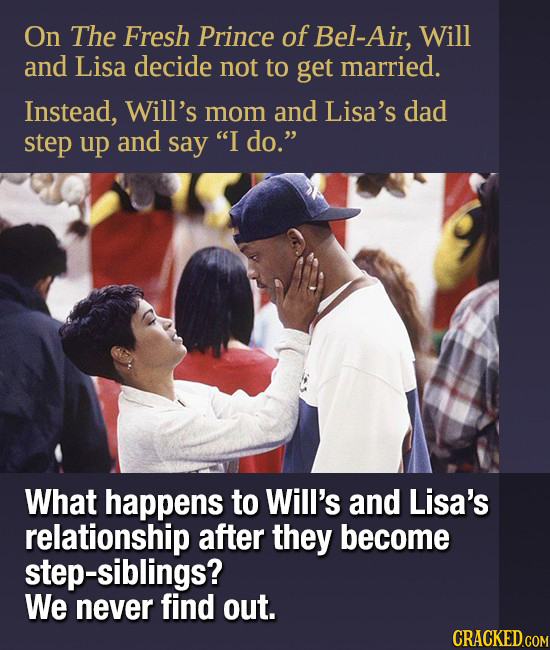 On The Fresh Prince of Bel-Air, Will and Lisa decide not to get married. Instead, Will's mom and Lisa's dad step up and say I do. What happens to Wi