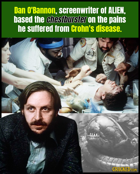 Dan O'Bannon, screenwriter of ALIEN, based the chestburster on the pains he suffered from Crohn's disease.