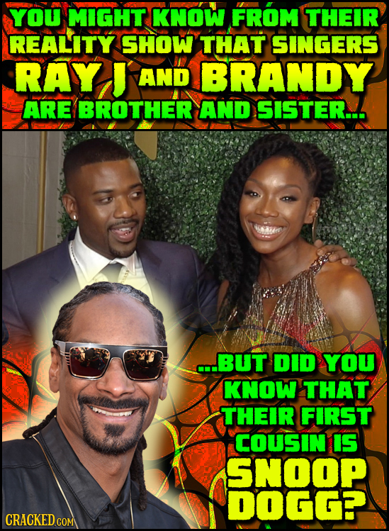 YOU MIGHT KNOW FROM THEIR REALITY SHOW THAT SINGERS RAY J AND BRANDY ARE BROTHER AND SISTER... AM C..BUT DID YOU KNOW THAT THEIR FIRST COUSIN IS SNOOP