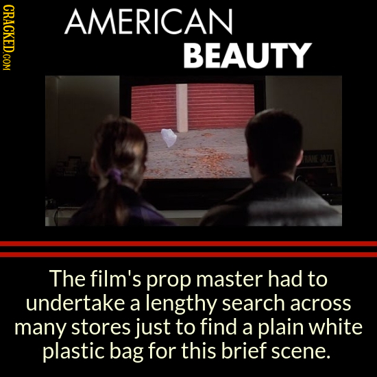 CRACKED.COM AMERICAN BEAUTY WI The film's prop master had to undertake a lengthy search across many stores just to find a plain white plastic bag for