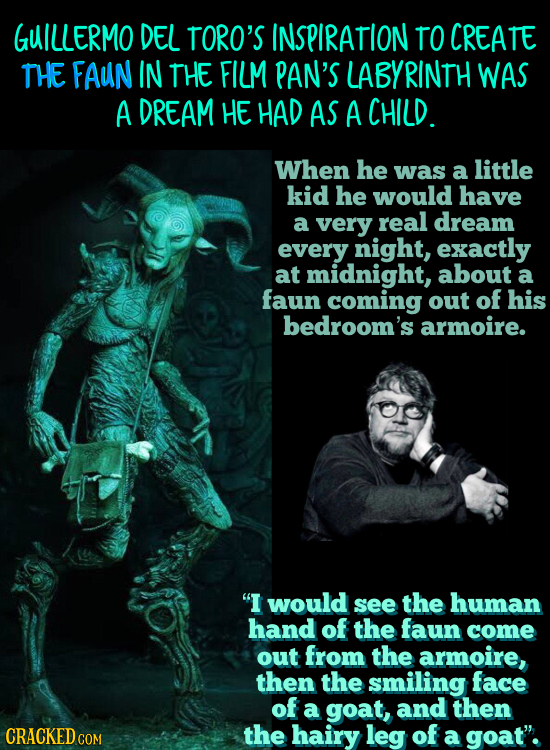 GUILLERMO DEL TORO'S INSPIRATION TO CREATE THE FAUN IN THE FILM PAN'S LABYRINTH WAS A DREAM HE HAD AS A CHILD. When he was a little kid he would have