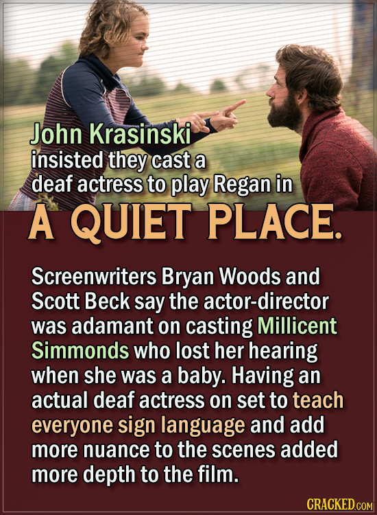 15 Actors Behind Important Details In Movies And Shows - John Krasinski insisted they cast a deaf actress to play Regan in A Quiet Place.  Screenwrite