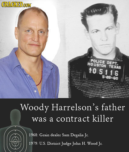 CRACKEDCON POLICE HOUSTON DEPT. TEXAS 10 5116 5-20--60 Woody Harrelson's father was a contract killer 1968: Grain dealer Sam Degalia Jr. 1979: US Dist