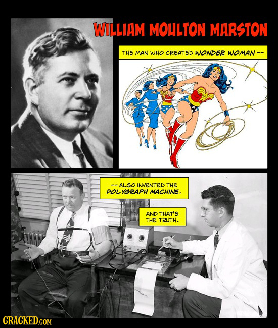 WILLIAM MOLLTON MARSTON THE MAN WHO CREATED WONDER WOmaN -- -ALSO INVENTED THE POL YGRAPH MACHINE. AND THAT'S THE TRUTH.