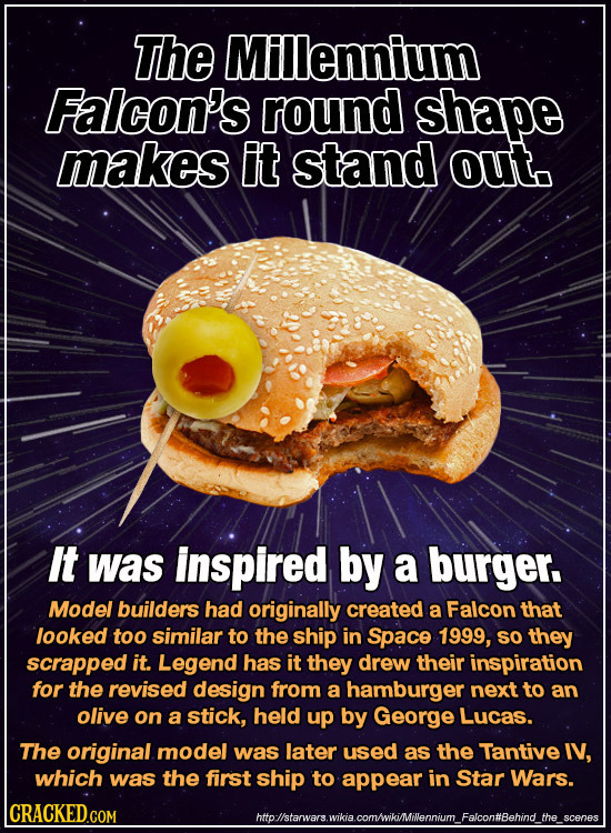 The Millennium Falcon's round shape makes It stand out. It was inspired by a burger. Model builders had originally created a Falcon that looked too si