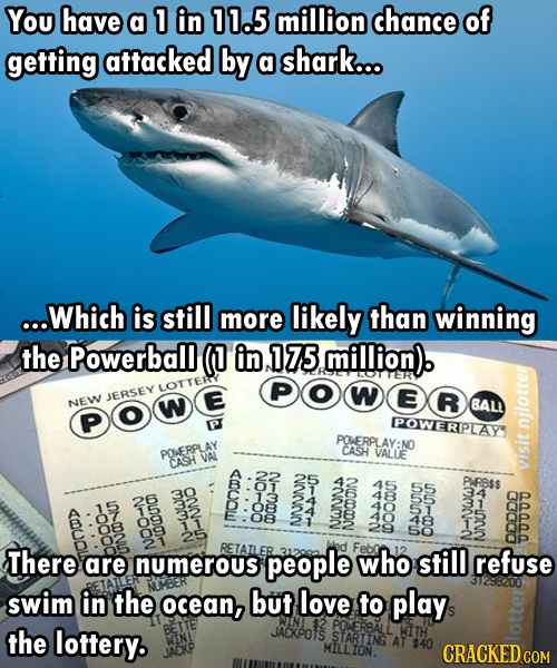 You have a 1 in 11.5 million chance of getting attacked by a shark... ...Which is still more likely than winning the Powerball (0 in 175 million) LOTT