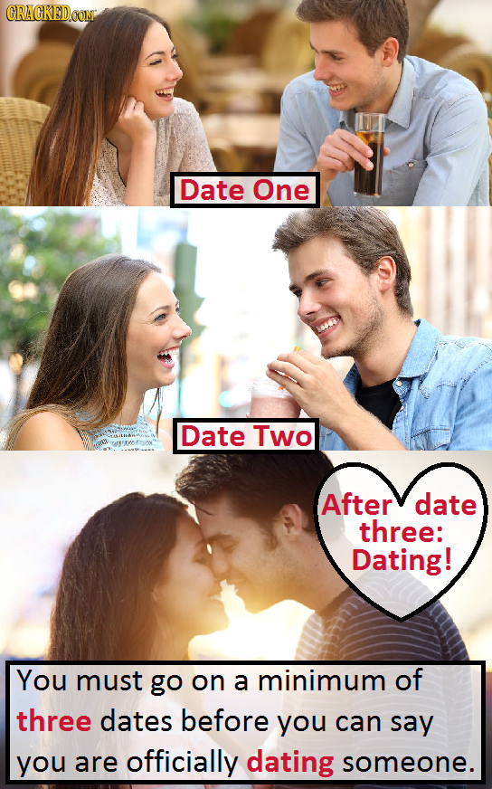CRACKEDOON Date One Date Two After date three: Dating! You must go on a minimum of three dates before you can say you are officially dating someone.