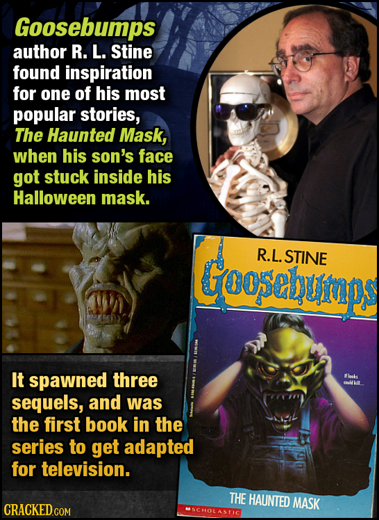 Goosebumps author R. L. Stine found inspiration for one of his most popular stories, The Haunted Mask, when his son's face got stuck inside his Hallow