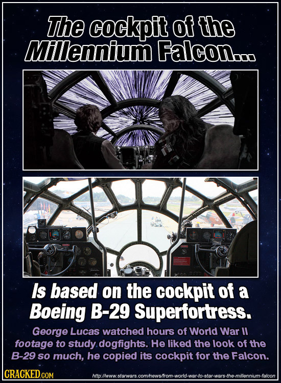 The cockpit of the Millennium Falcon.. Is based on the cockpit of a Boeing B-29 Superfortress. George Lucas watched hours of World War ll footage to s