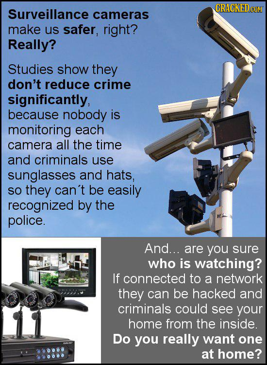 CRACKED Surveillance COM cameras make us safer, right? Really? Studies show they don't reduce crime significantly, because nobody is monitoring each c