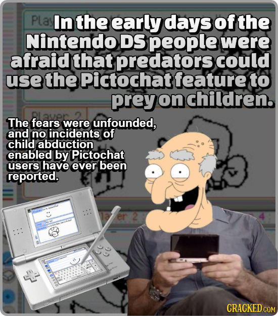 Plasl In the early days of the Nintendo DS people were afraid that predators could use the Pictochat feature to prey on children. The fears were unfou