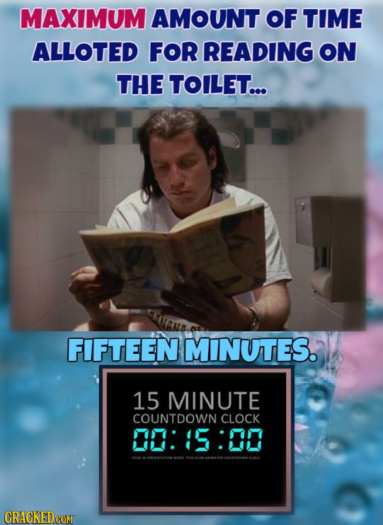 MAXIMUM AMOUNT OF TIME ALLOTED FOR READING ON THE TOILET... FIFTEEN MINUTES. 15 MINUTE COUNTDOWN CLOCK 0:15:20 CRACKEDCOMT