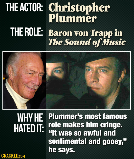 THE ACTOR: Christopher Plummer THE ROLE: Baron von Trapp in The Sound of Music WHY HE Plummer's most famous HATED IT: role makes him cringe. It was s