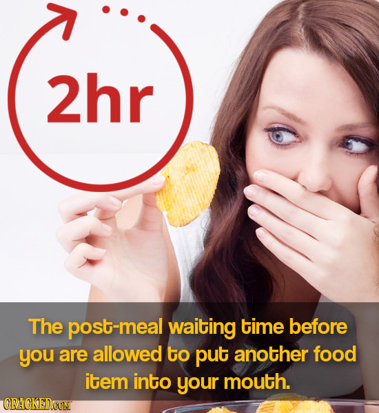2hr The post-meal waiting time before you are allowed to put another food item into your mouth. CRAGKEDCOM