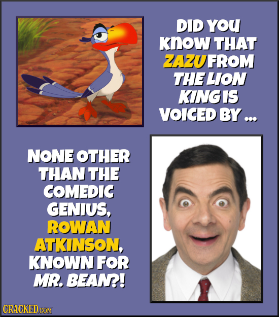 DID YoU KNow THAT ZAZUFROM THE LION KING IS VOICED BY ... NONE OTHER THAN THE COMEDIC GENIUS, ROWAN ATKINSON, KNOWN FOR MR. BEAN! CRACKED