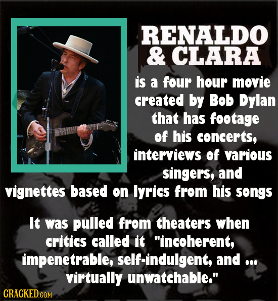 RENALDO & CLARA is a four hour movie created by Bob Dylan that has footage of his concerts, interviews of various singers, and vignettes based on Iyri