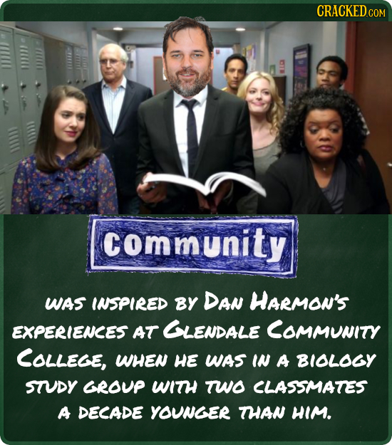 CRACKED.COM ommunity WAS INSPIRED BY DAN HARMON'S EXPERIENCES AT GLENDALE COMMUNITY COLLEGE, WHEN He WAS IN A BIOLOGY STUDY GROUP WITH TWO CLASSMATES