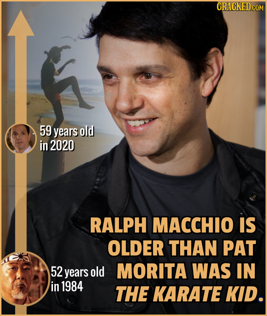 CRACKED COM 59 years old in 2020 RALPH MACCHIO IS OLDER THAN PAT 52 MORITA WAS IN years old in 1984 THE KARATE KID.