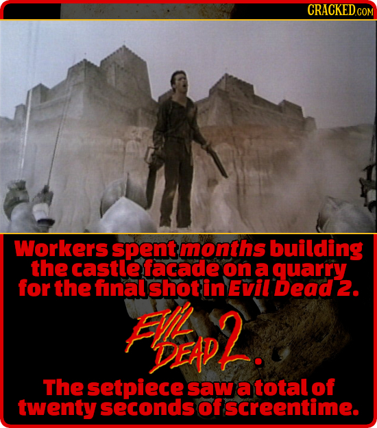 CRACKEDCON Workers spent months building the castle facade on a quarry for the final shot in Evil Dead 2. FL MD2. The setpiece saw a total of twenty s