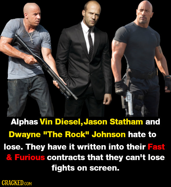 Alphas Vin Diesel, Jason Statham and Dwayne The Rockil Johnson hate to lose. They have it written into their Fast & Furious contracts that they can't