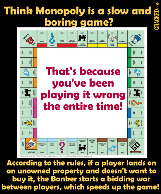 Think Monopoly is a slow and boring game? CRACKED.COM SHERVe ENVIO That's because you've been playing it T wrong the entire time! 2 CONE Om AX GO VSNo