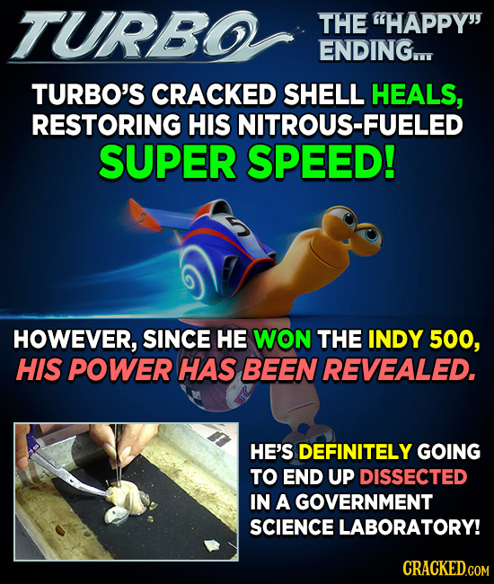 TURBO THE HAPPY ENDING TURBO'S CRACKED SHELL HEALS, RESTORING HIS NITROUS-FUELED SUPER SPEED! HOWEVER, SINCE HE WON THE INDY 500, HIS POWER HAS BEEN