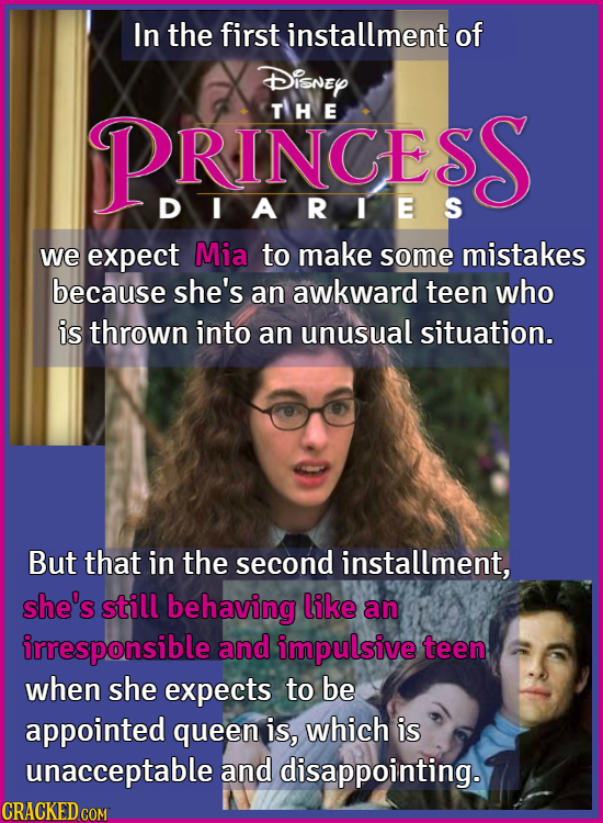 In the first installment of Disney PRINCESS TH E DIARTES we expect Mia to make some mistakes because she's an awkward teen who is thrown into an unusu