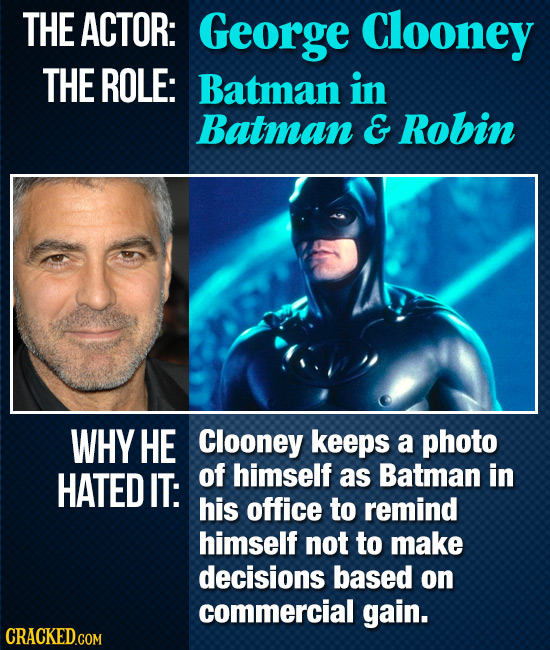 THE ACTOR: George Clooney THE ROLE: Batman in Batman & Robin WHY HE Clooney keeps a photo HATED IT: of himself as Batman in his office to remind himse