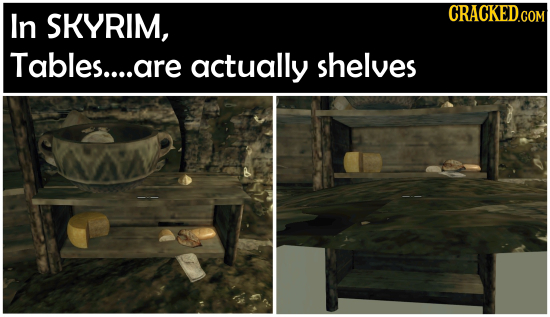 In SKYRIM, Tables....are actually shelves