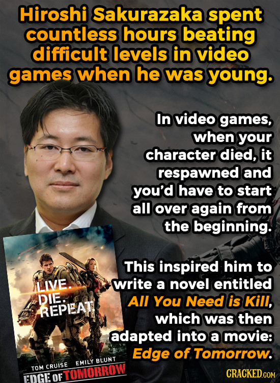 Hiroshi Sakurazaka spent countless hours beating difficult levels IN video games when he was young. In video games, when your character died, it respa