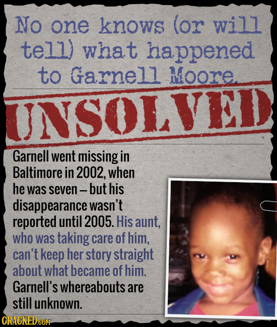 NO one knows (or will tell) what happened to Garnell Moore UNSOLVED Garnell went missing in Baltimore in 2002, when he was seven- but his disappearanc