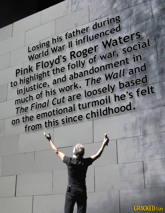 during father his influenced Waters Losing War social Roger World of war, in Floyd's folly pink the and abandonment Wall highlight and to The based in