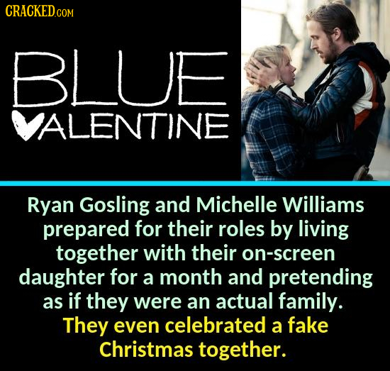 CRACKEDo COM BLUE VALENTINE Ryan Gosling and Michelle Williams prepared for their roles by living together with their on-screen daughter for a month a