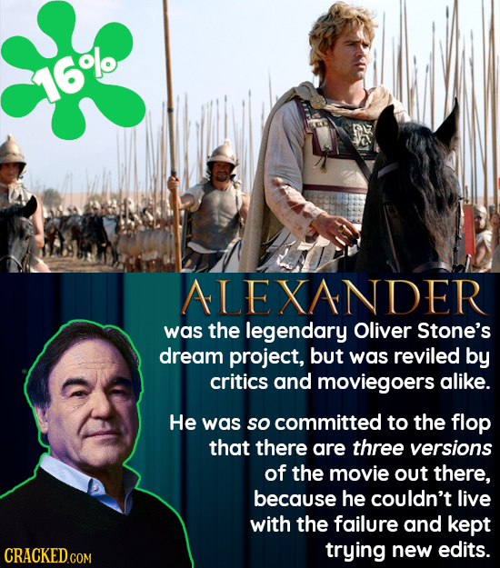 16%0 ALEXANDER was the legendary Oliver Stone's dream project, but was reviled by critics and moviegoers alike. He was so committed to the flop that t