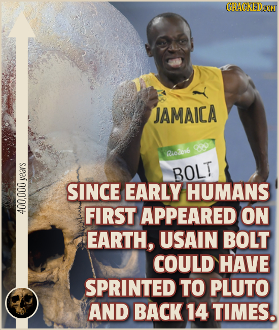 JAMAICA 0 Rio2o16 BOLT vears SINCE EARLY HUMANS FIRST APPEARED ON 400,000 EARTH, USAIN BOLT COULD HAVE SPRINTED TO PLUTO AND BACK 14 TIMES.