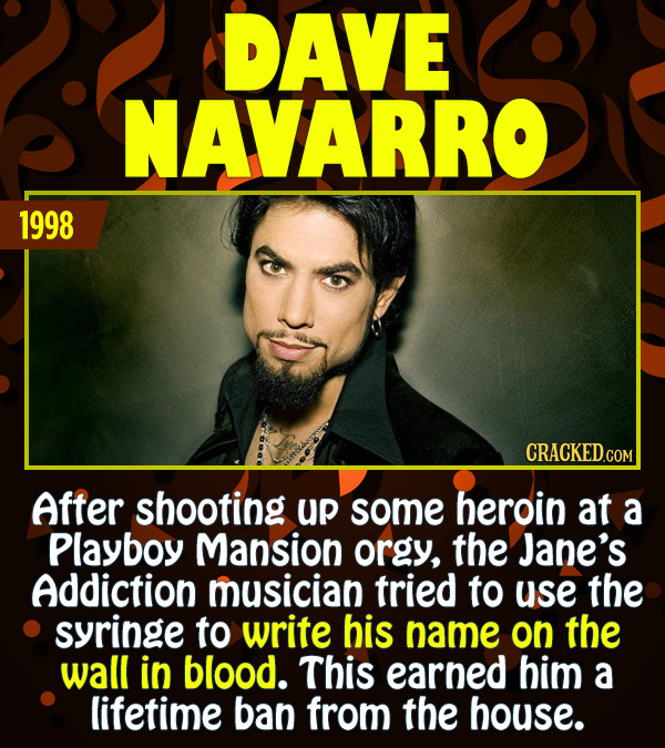 15 Epic Feats of Partying by Famous People - After shooting up some heroin at a Playboy Mansion orgy, the Jane's Addiction frontman tried to use the s