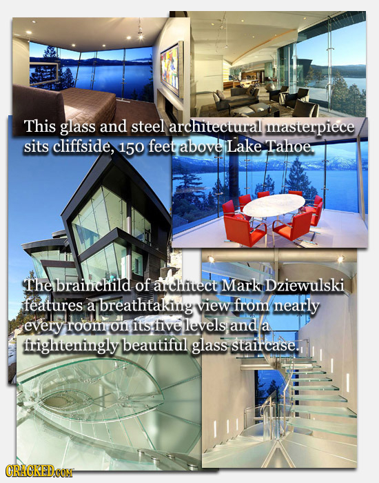 This glass and steel architectural masterpiece sits cliffside, 150 feet above Lake Tahoe Thebrainchild of alchitect Mark Dziewulski features a breatht