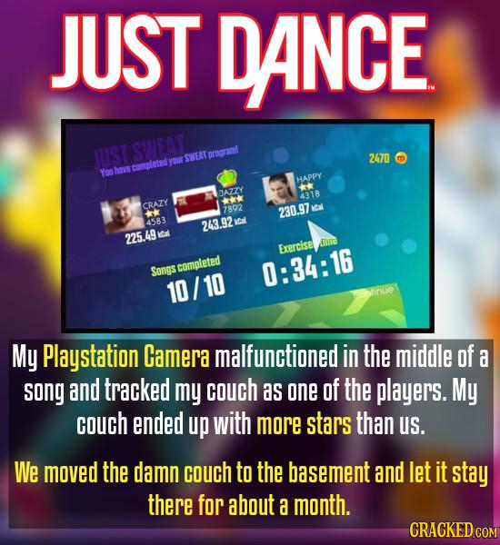 JUST DANCE UST SWEAT SWEAT ororaml 2470 m VO thows completed V HAPPY JAZZY 4318 + CRAZY 7802 230.97 cal kk 4583 243.92 KCal 225.49 Iat uta Exerciset S