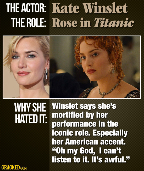 THE ACTOR: Kate Winslet THE ROLE: Rose in Titanic WHY SHE Winslet says she's HATED IT: mortified by her performance in the iconic role. Especially her