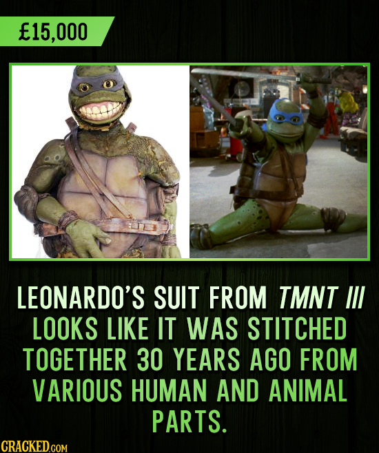 15,000 LEONARDO'S SUIT FROM TMNT IIL LOOKS LIKE IT WAS STITCHED TOGETHER 30 YEARS AGO FROM VARIOUS HUMAN AND ANIMAL PARTS. CRACKED.COM