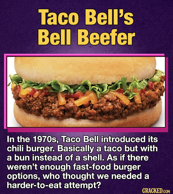 Photo of Taco Bell's Bell Beefer with the text 'In the 1970s, Taco Bell introduced its chili burger.'