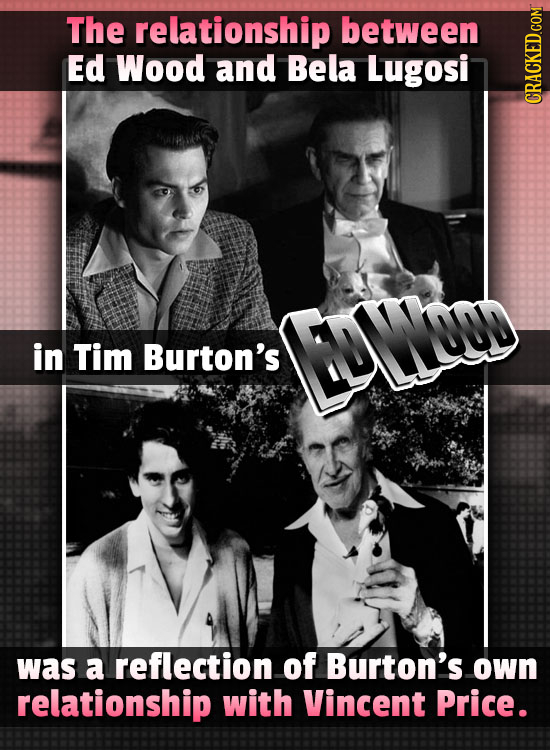 The relationship between Ed Wood and Bela Lugosi CRAUI in Tim Burton's ENTNOD was a reflection of Burton's own relationship with Vincent Price.