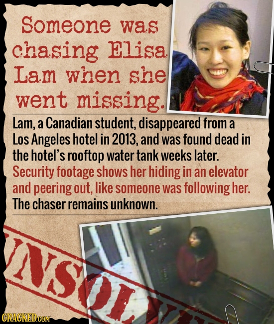 Someone was chasing ELiSA Lam when she went missing. Lam, a Canadian student, disappeared from a LOs Angeles hotel in 2013, and was found dead in the