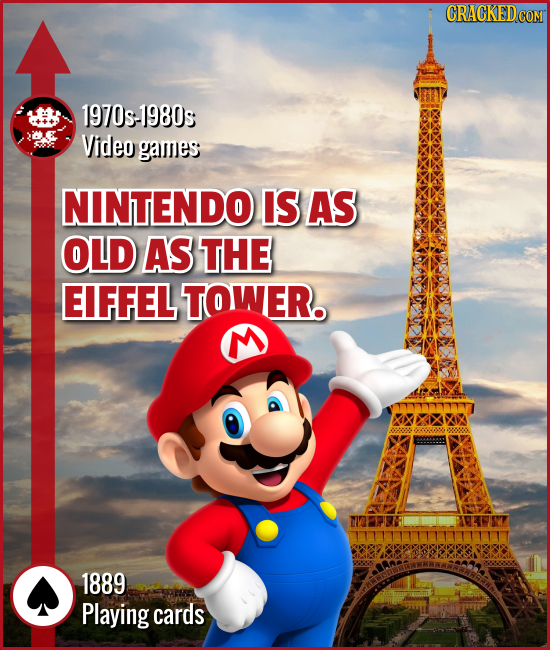 1970s:1980s Video games NINTENDO IS AS OLD AS THE EIFFEL TOWER. 1889 Playing cards