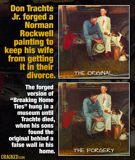 Don Trachte Jr. forged a Norman Rockwell painting to keep his wife from getting it in their divorce. THE ORIGINAL The forged version of Breaking HoME